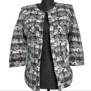 Black and White Boucle Blazer with half-sleeves
